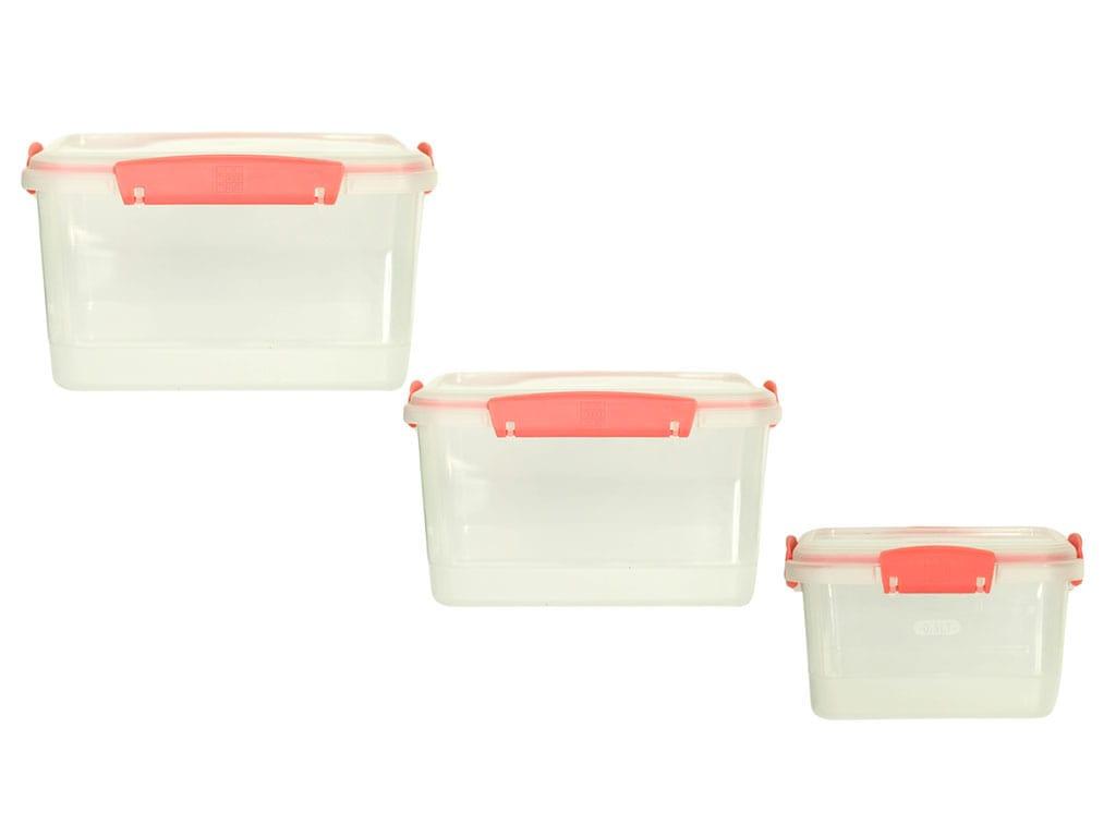 juego de recipientes plus x3 rectangulares a litros salmon rimoplásticas