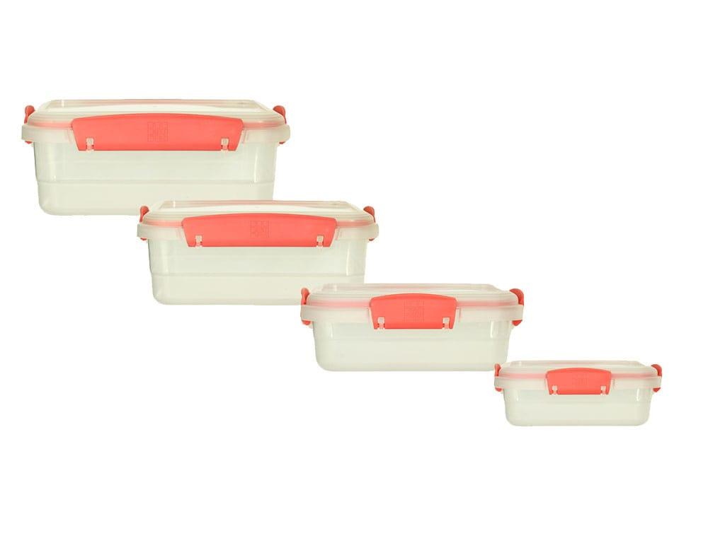 juego de recipientes plus x4 rectangulares bajos salmon rimoplásticas