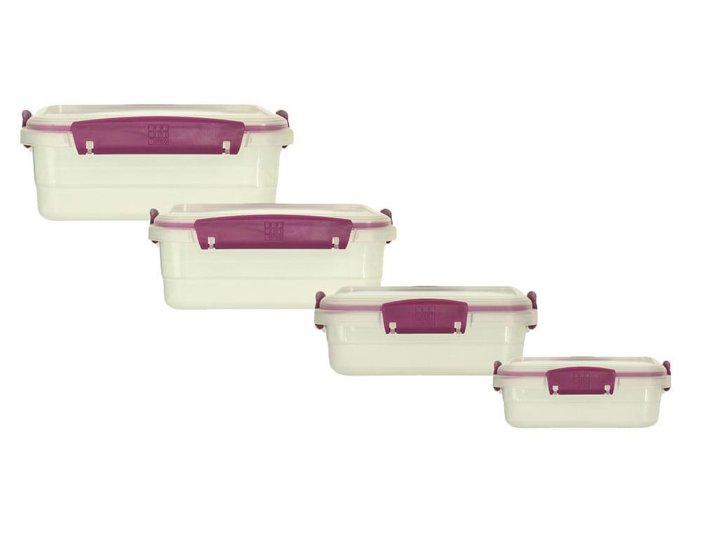 juego de recipientes plus x4 rectangulares bajos violeta rimoplásticas
