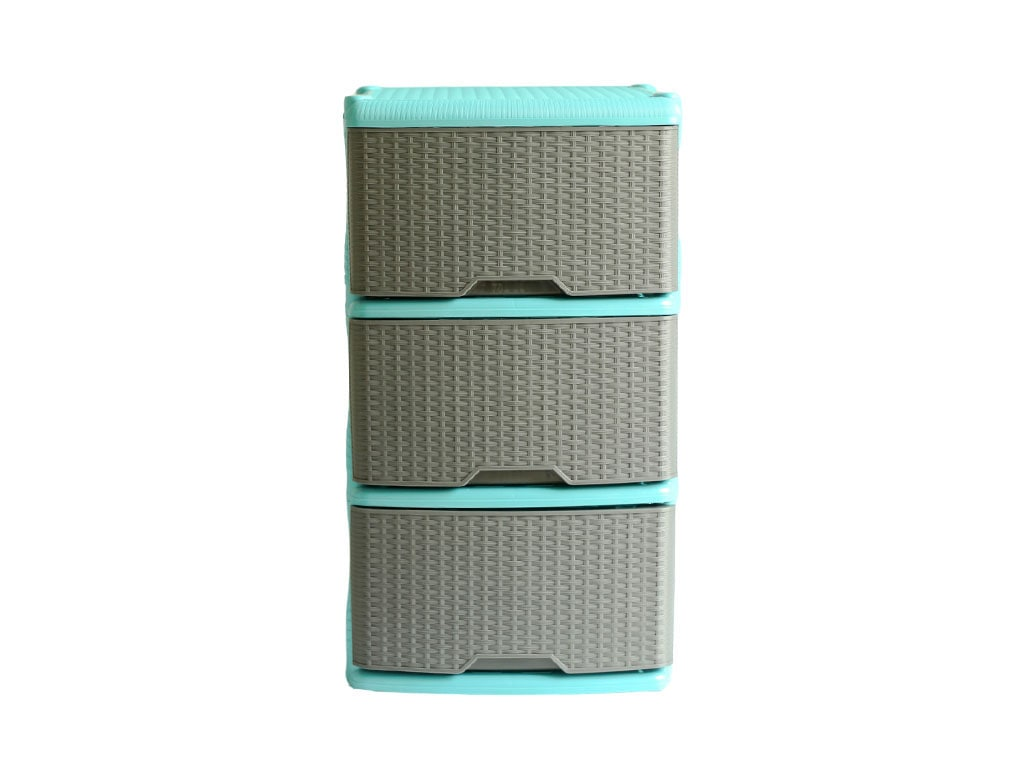 mueble organizador rattan x3 azul agua marino gris rimoplasticas Rimoplásticas