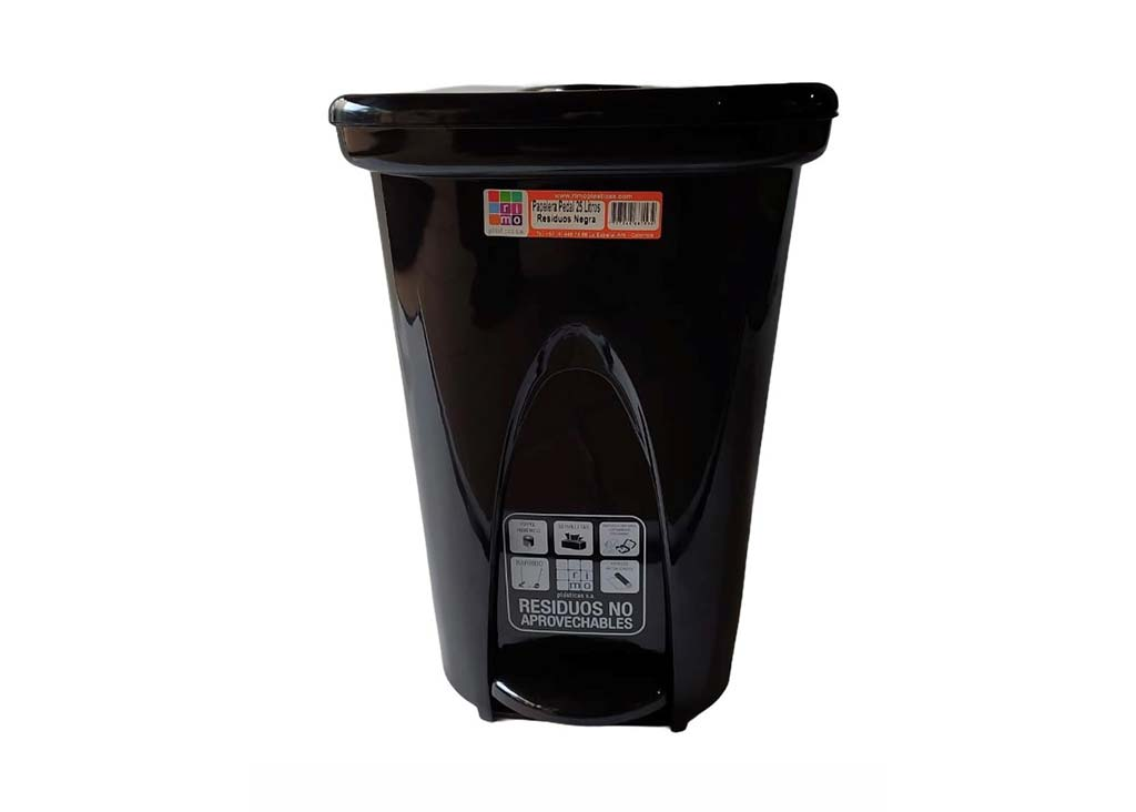 papelera pedal residuos blanca negra 25 litros Rimoplásticas